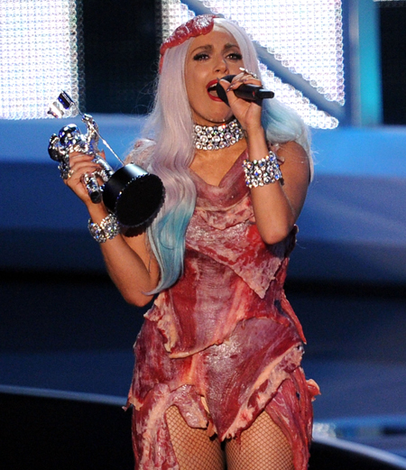 lady gaga meat dress. Lady Gaga apparently made a