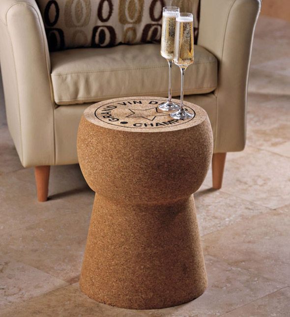 A side table in the design of a large wine bottle cork