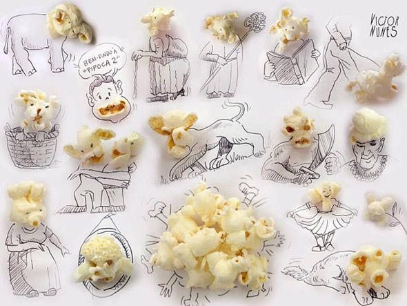 Popcorn mit Gesicht