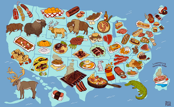 The United Steaks of America, An Interactive Map of Each US States' Official Meat
