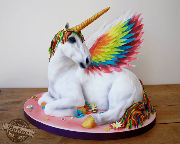 Unicorn Birthday Cake With Candle On Horn