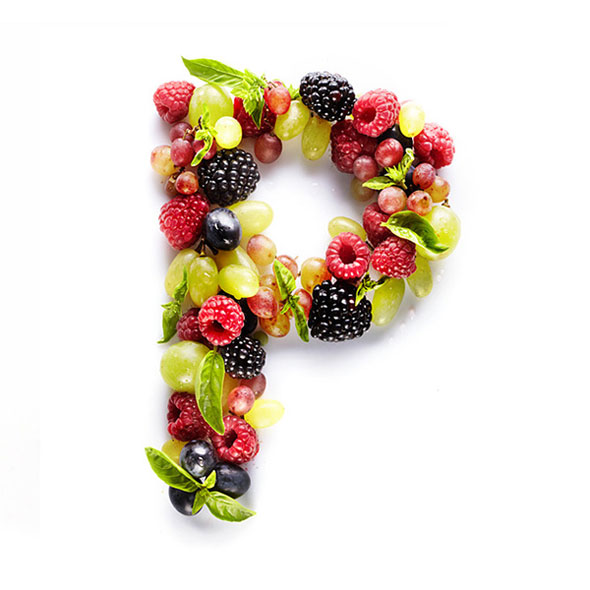 a series of vitamin letters made from foods that contain them