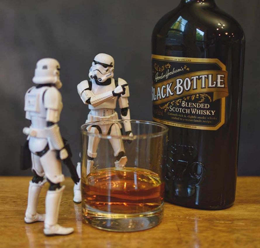"""Look sir, a black bottle. We must tell Lord Vader."""